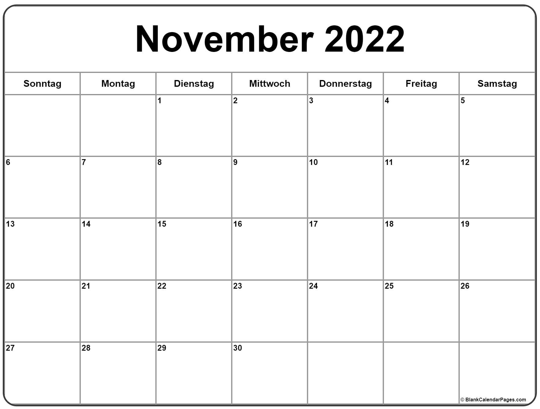 November 2022 kalender