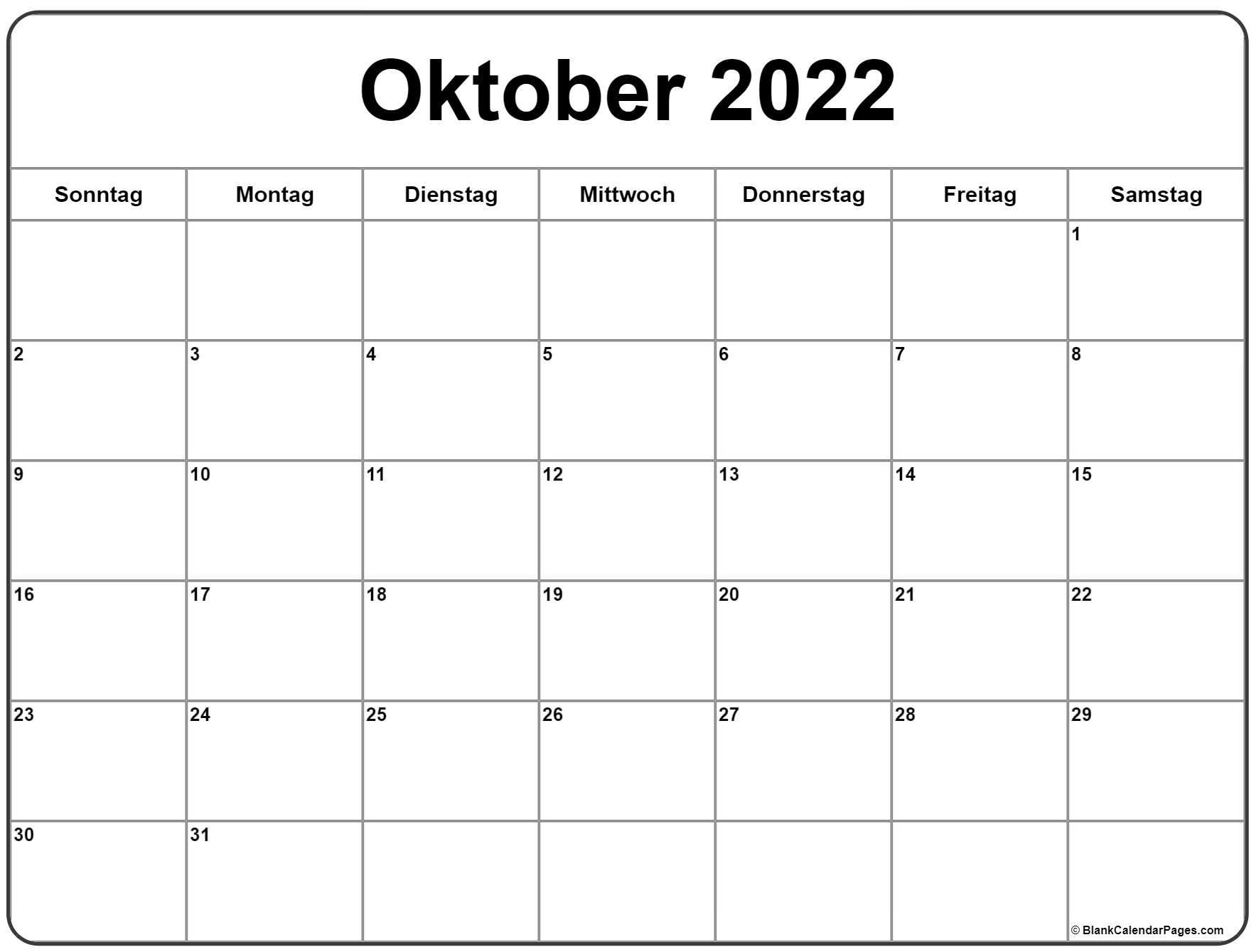 Oktober 2022 kalender