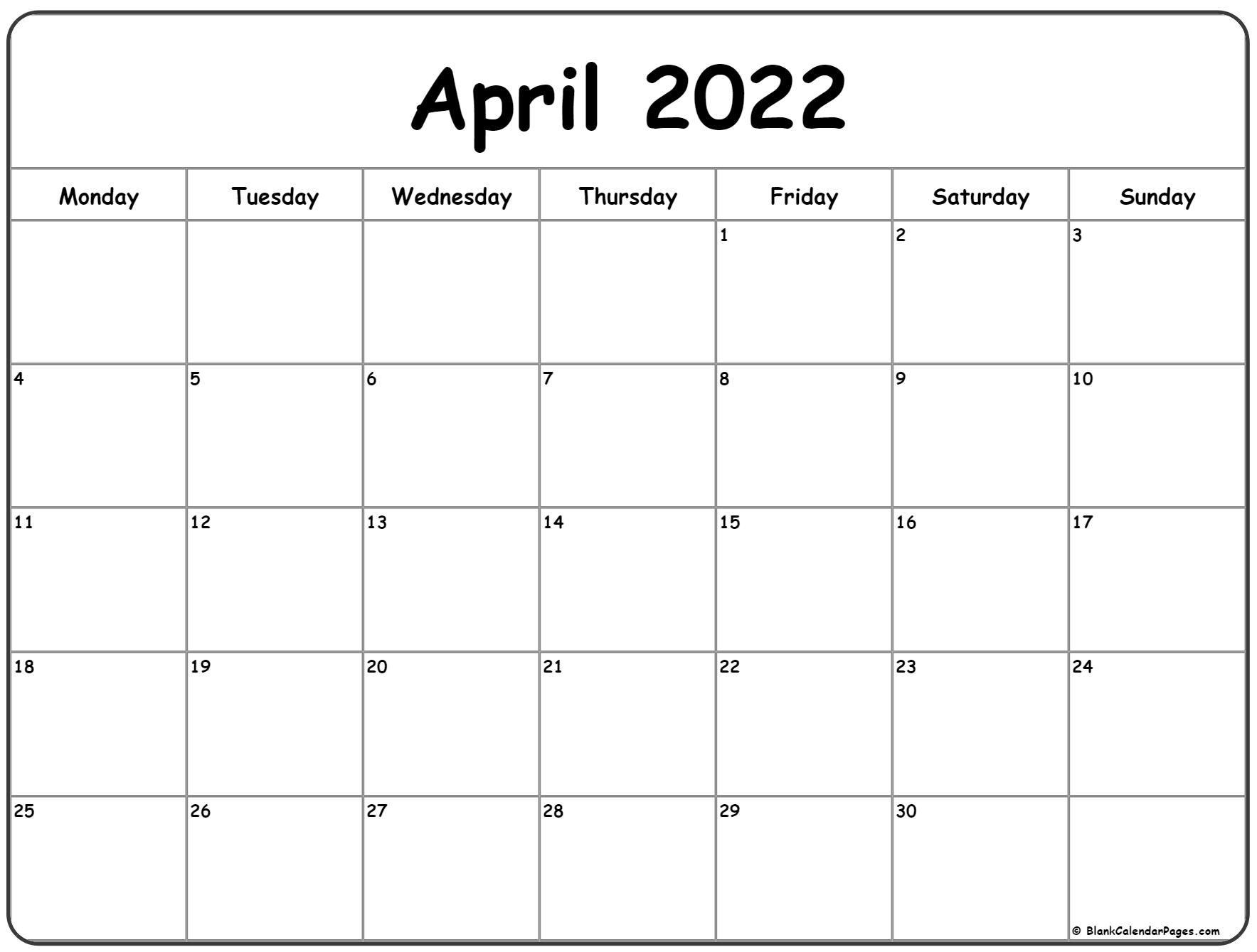 April 2022 Monday calendar. Monday to Sunday