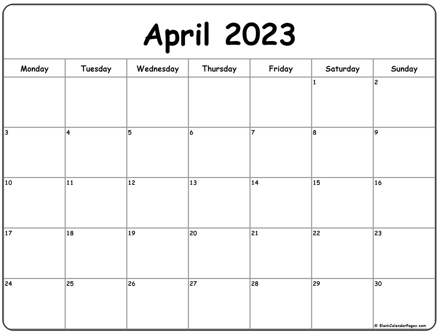 April 2023 Monday calendar. Monday to Sunday
