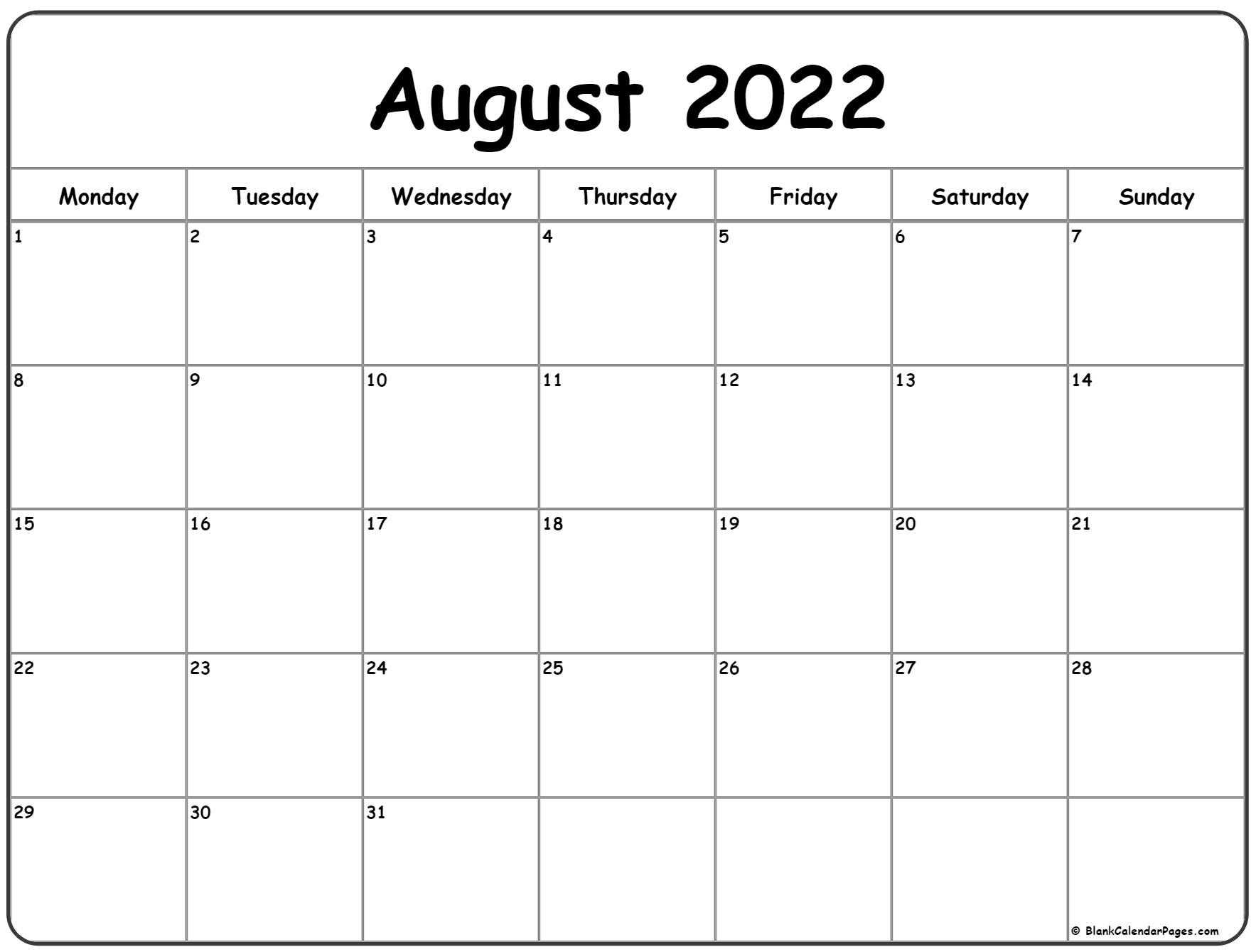 August 2022 Monday calendar. Monday to Sunday