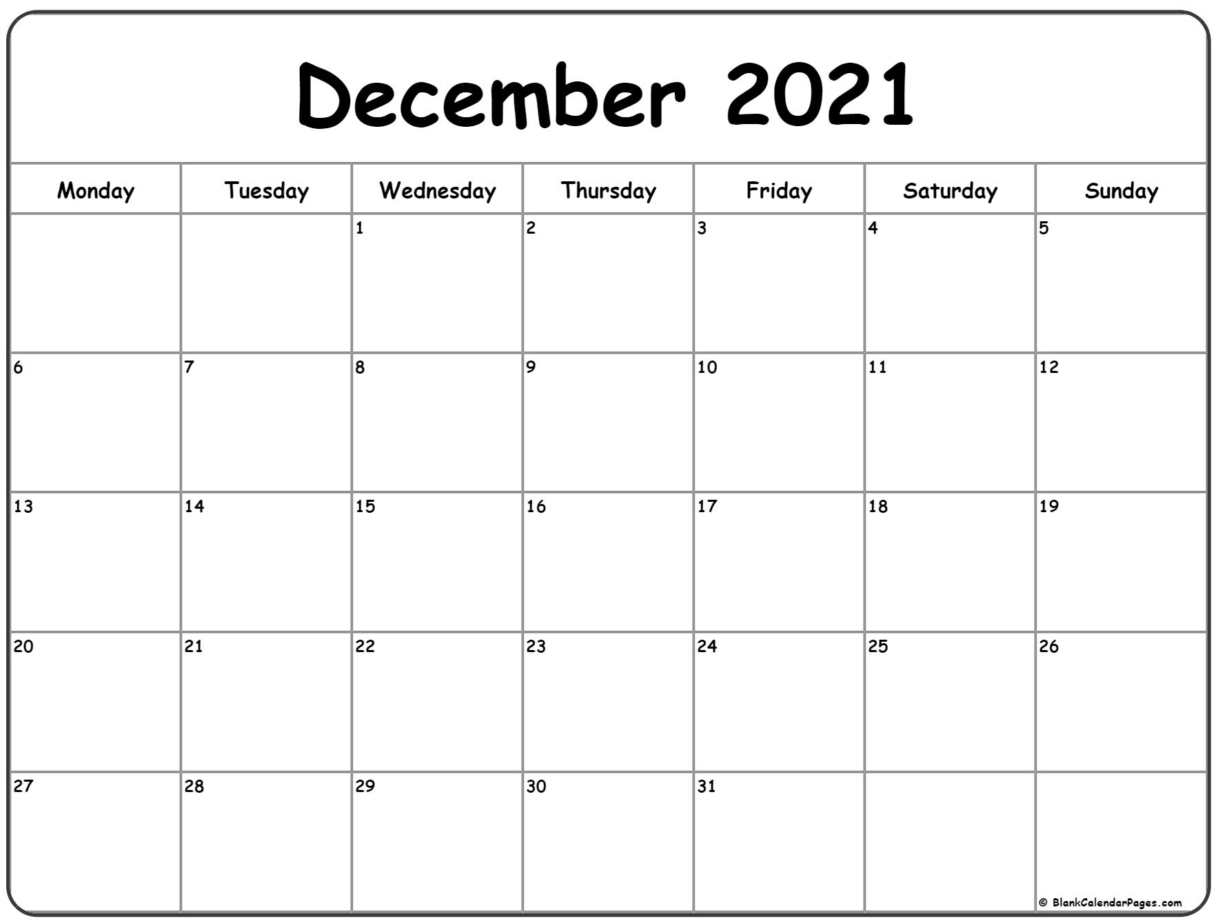 December 2021 Monday calendar. Monday to Sunday