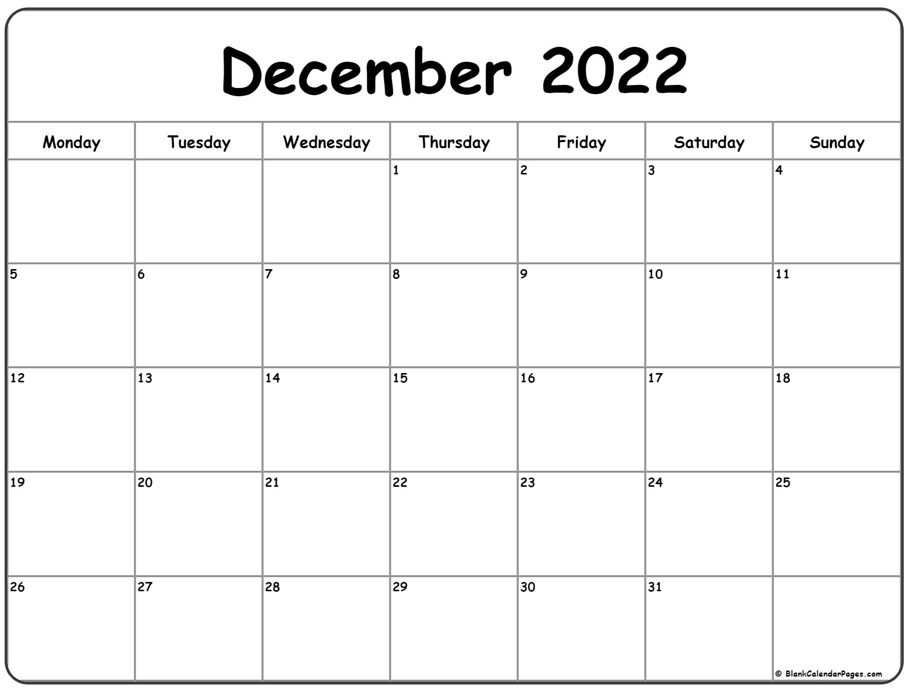 December 2022 Monday calendar. Monday to Sunday