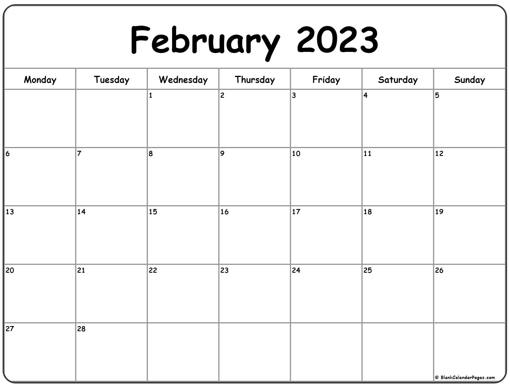 February 2023 Monday calendar. Monday to Sunday