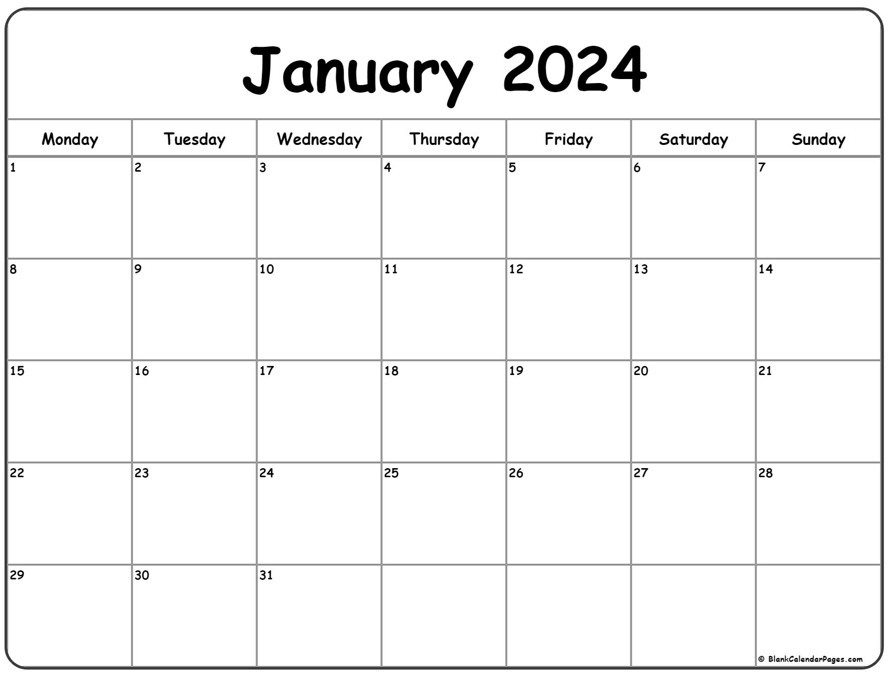 January 2024 Monday calendar. Monday to Sunday