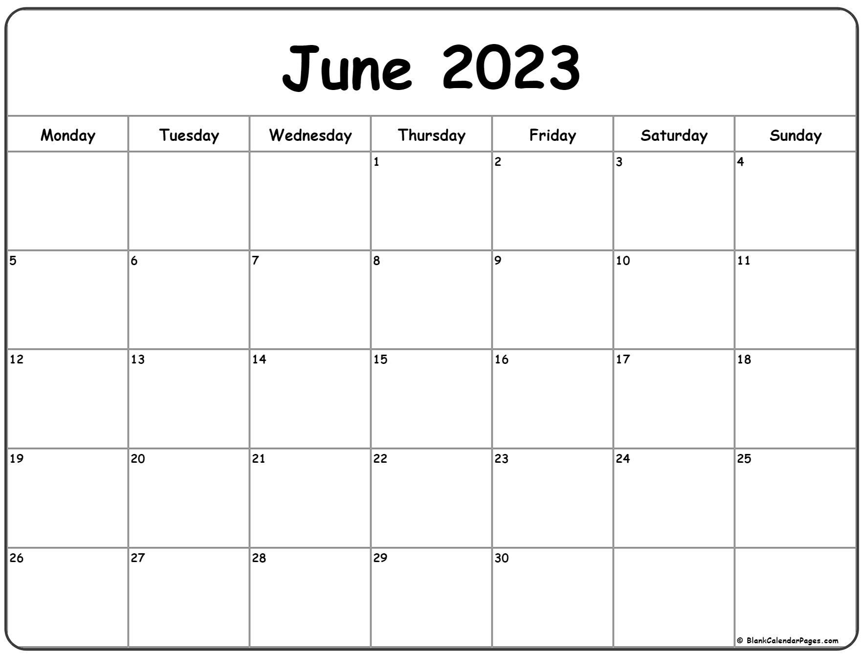 June 2023 Monday calendar. Monday to Sunday