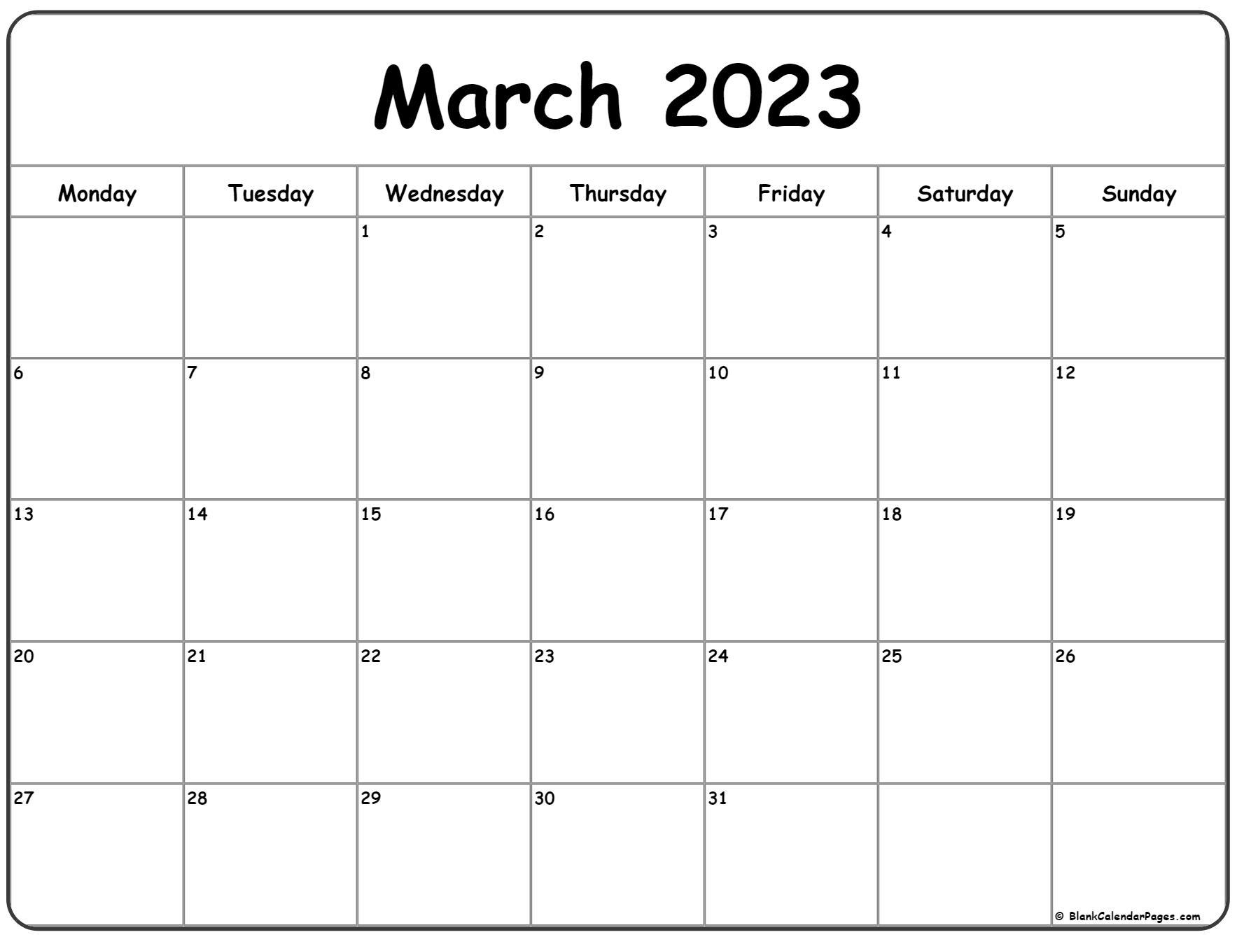 March 2023 Monday calendar. Monday to Sunday