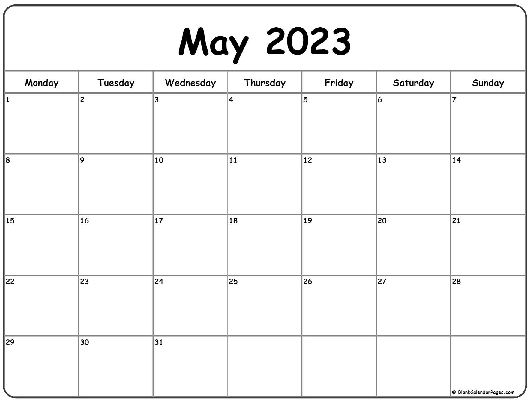 May 2023 Monday calendar. Monday to Sunday