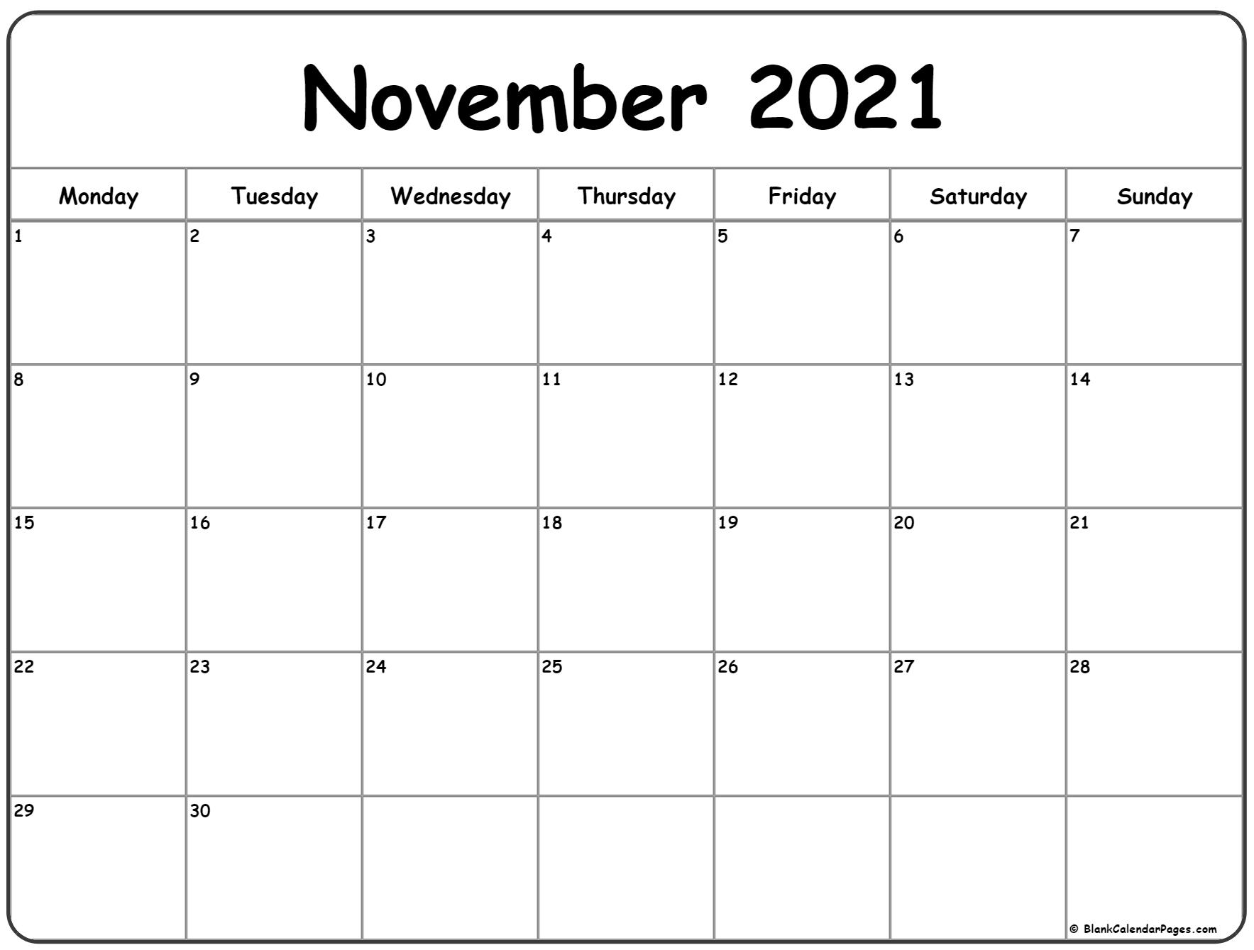 November 2021 Monday calendar. Monday to Sunday