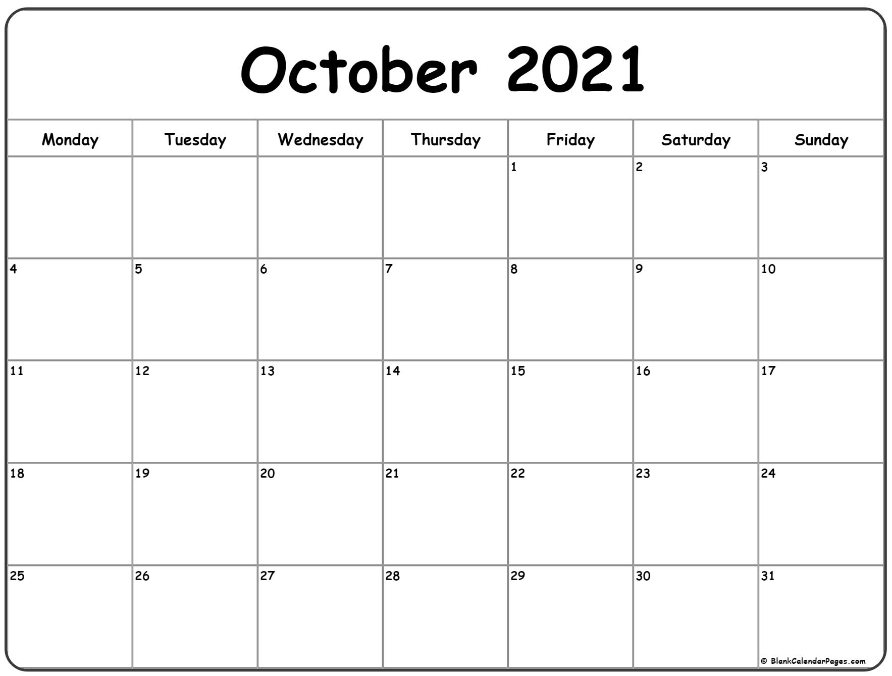 Blank October Calendar 2021 October 2021 Monday Calendar | Monday to Sunday