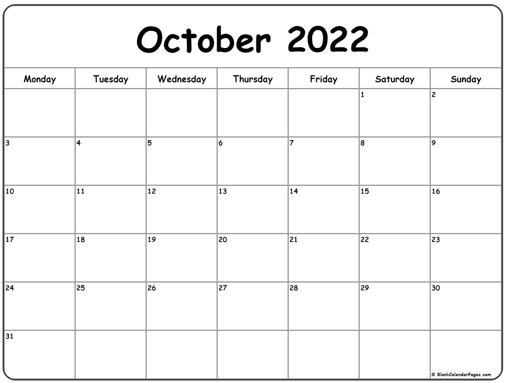 October 2022 Monday calendar. Monday to Sunday