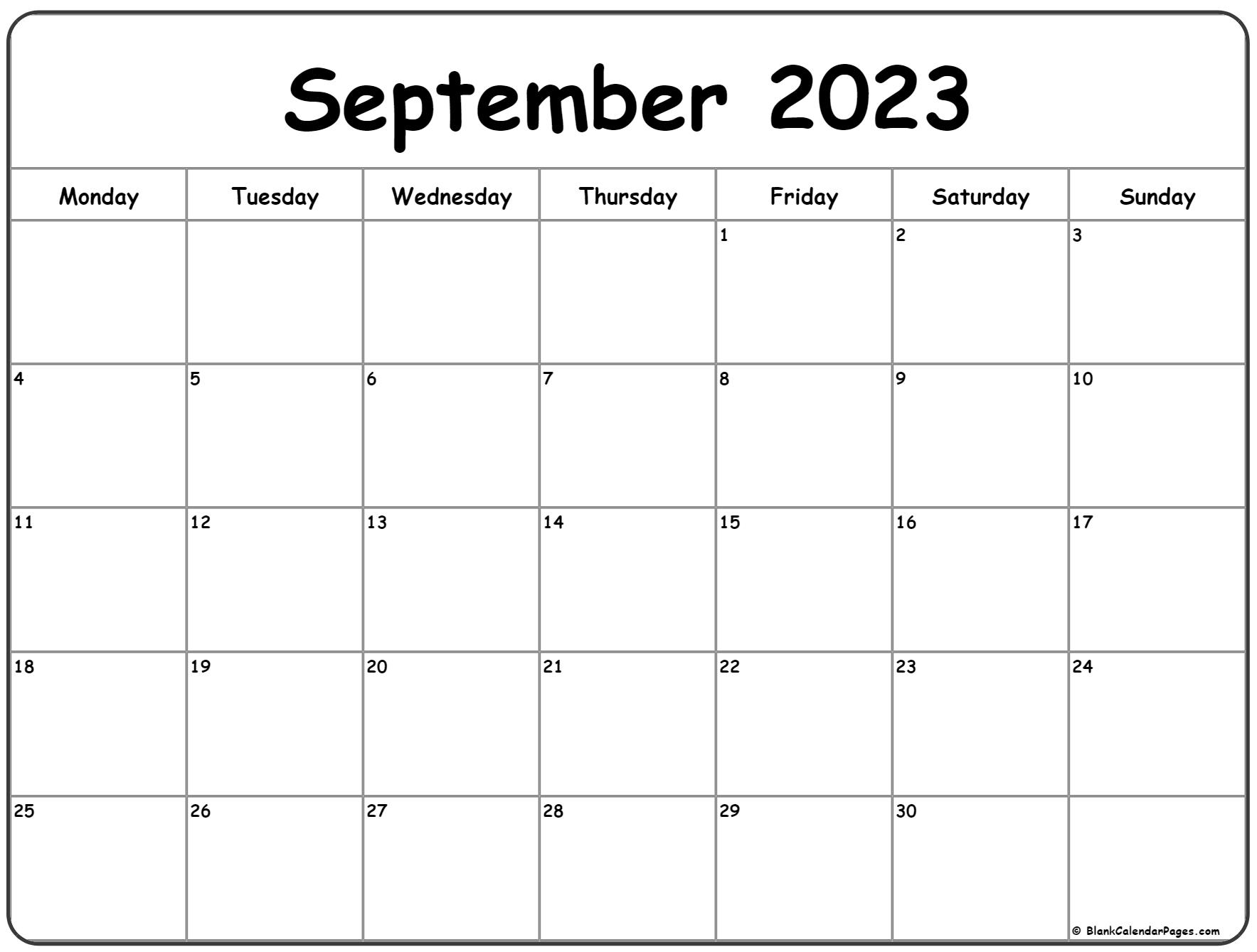 September 2023 Monday calendar. Monday to Sunday