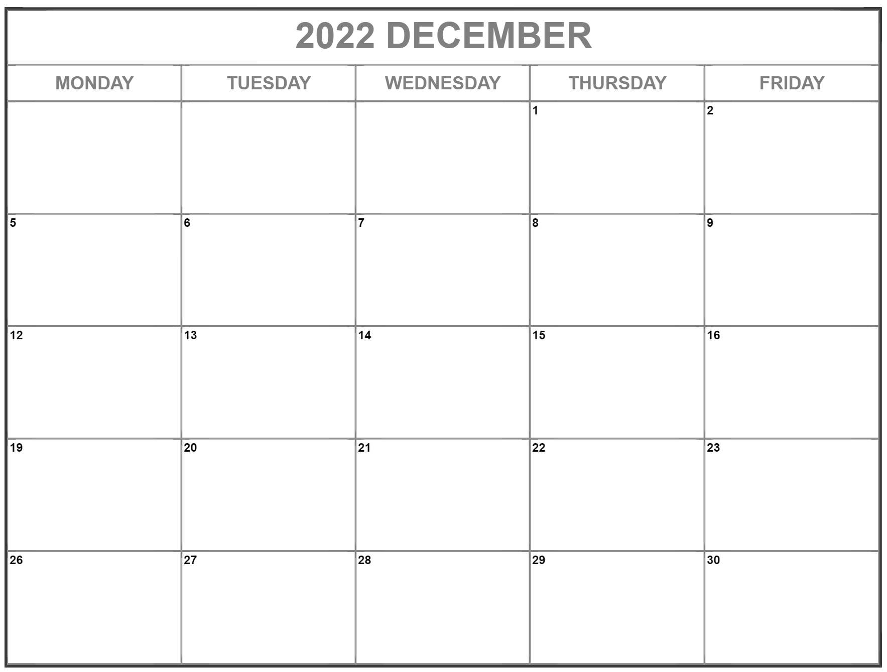 December 2022 Monday through Friday calendar.