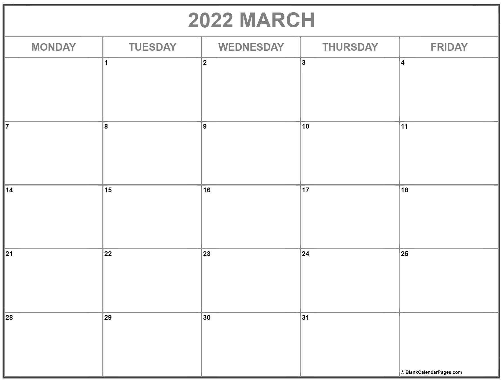 March 2022 Monday through Friday calendar.