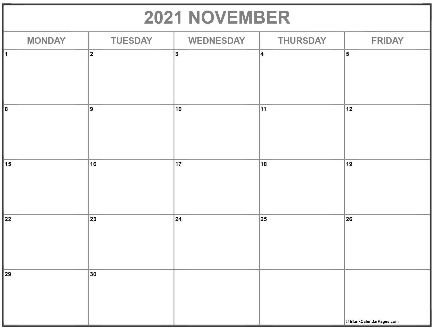 November 2021 Monday through Friday calendar.