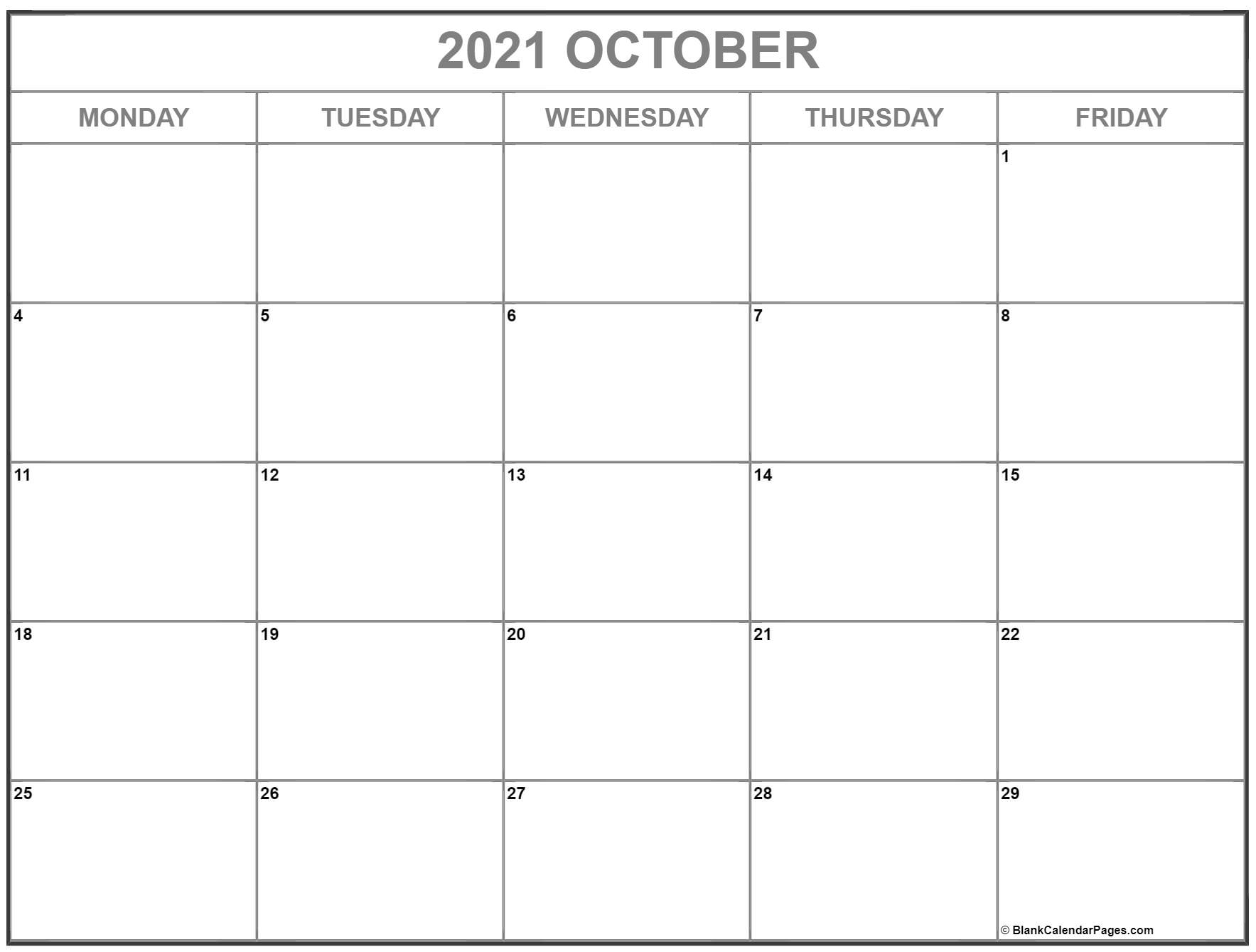 October 2019 Monday through Friday calendar.