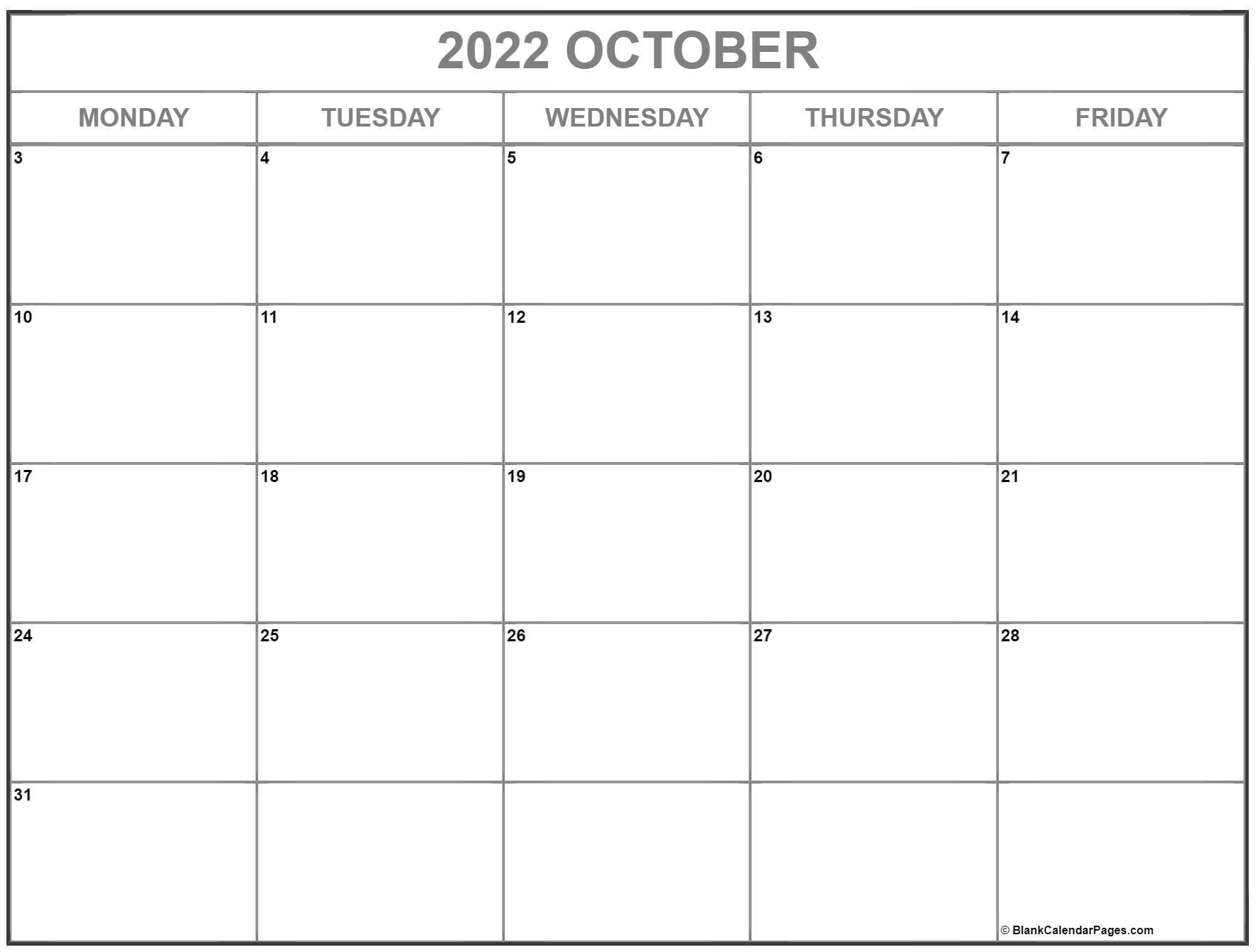 October 2022 Monday through Friday calendar.