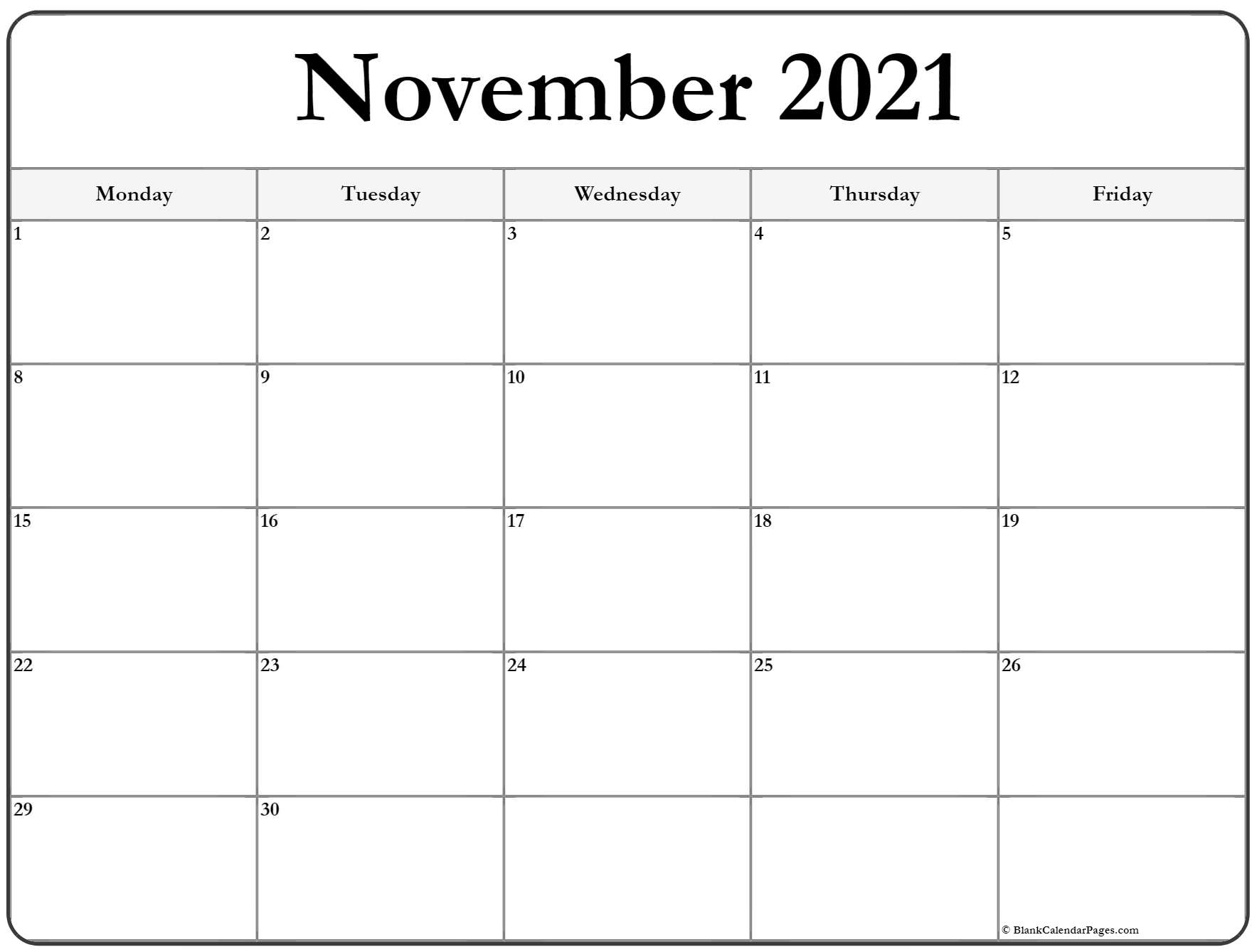 November 2020 Monday Calendar | Monday to Sunday