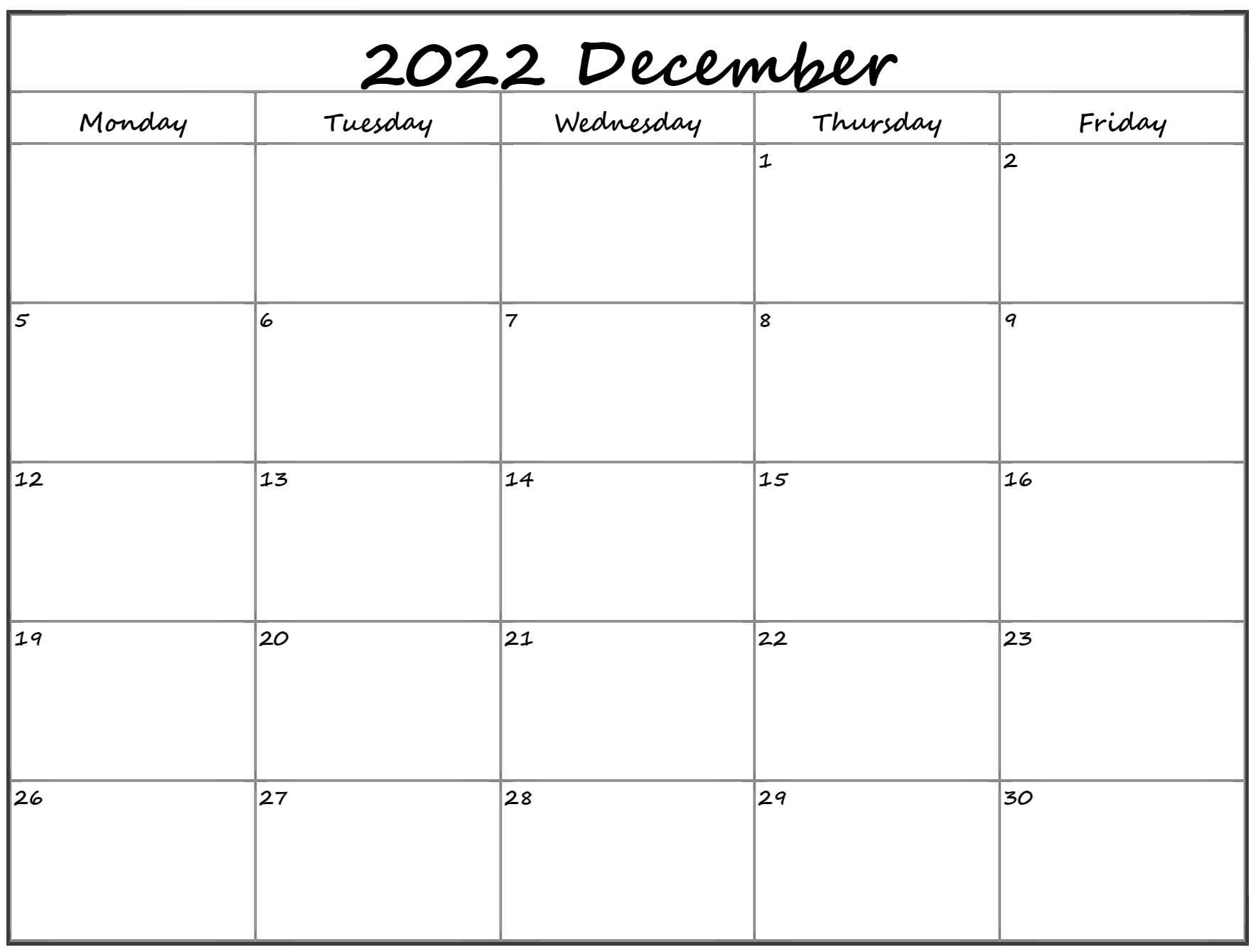 December 2022 Monday Calendar | Monday to Sunday