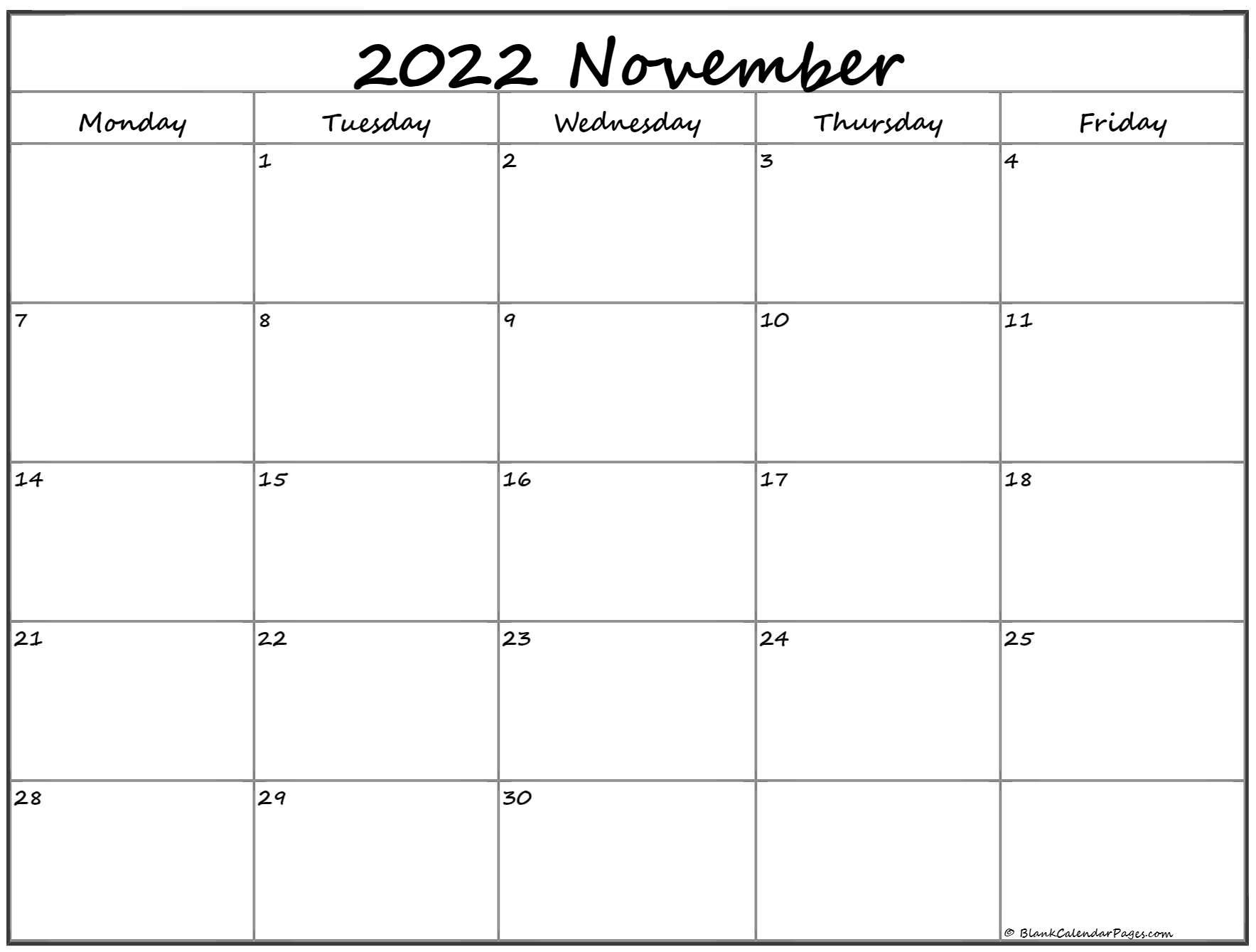 November 2022 Monday Calendar | Monday to Sunday