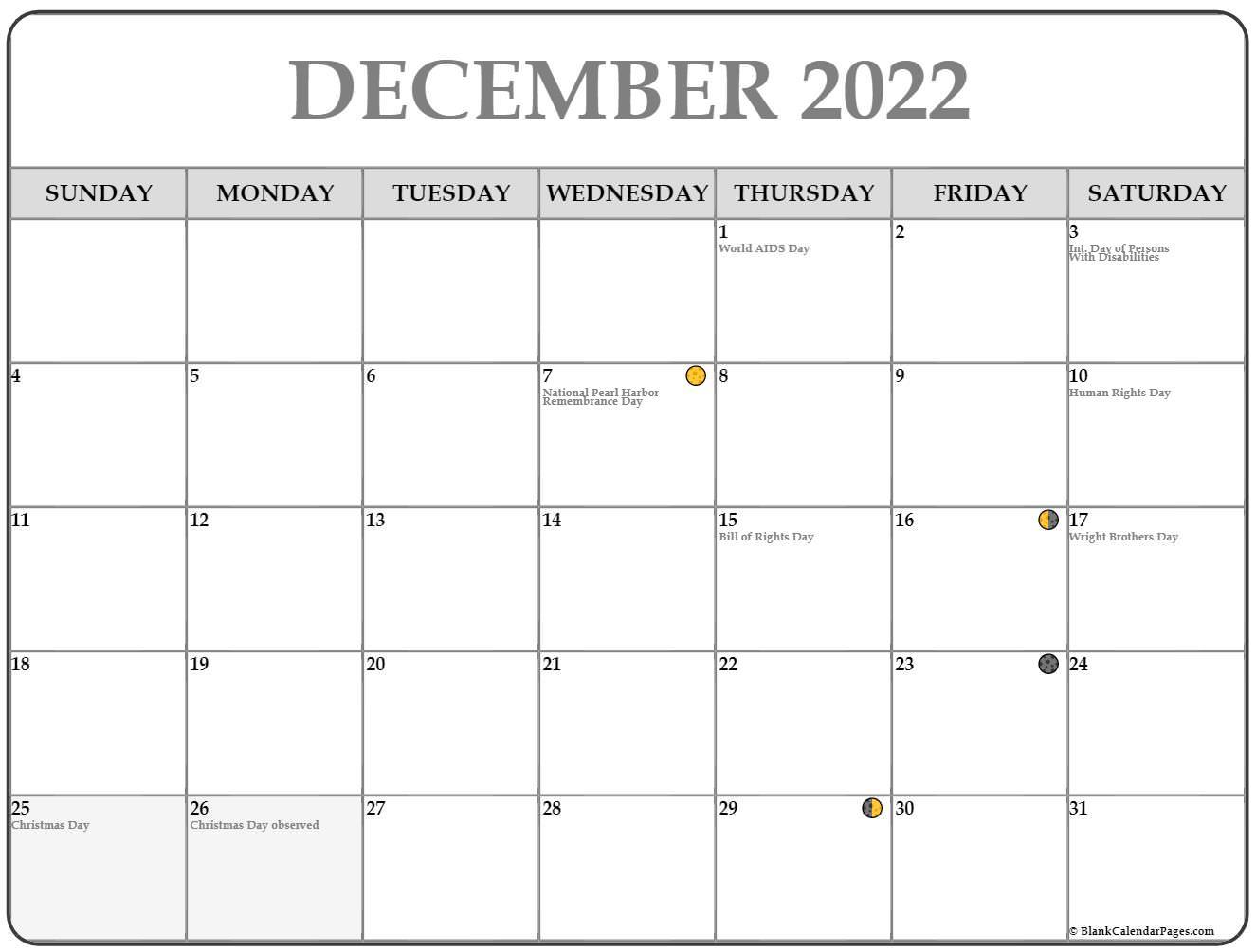Moon Calendar December 2022.December 2022 Lunar Calendar Moon Phase Calendar