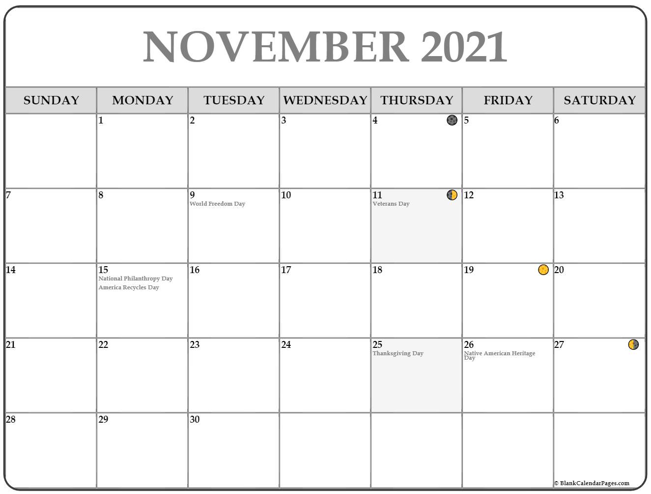 2019 November moon phases template