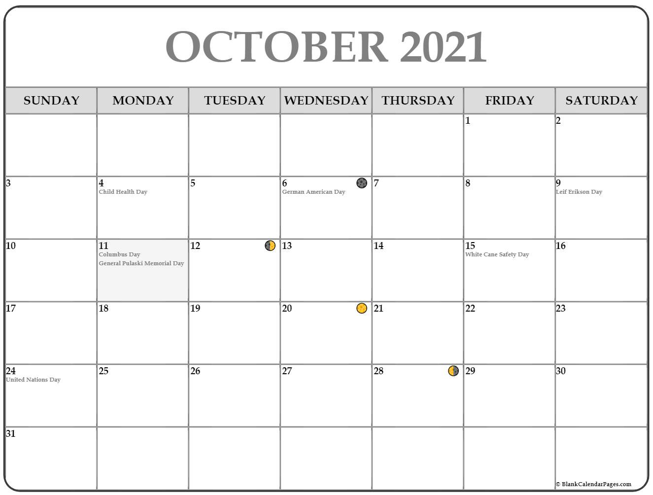 2019 October moon phases template