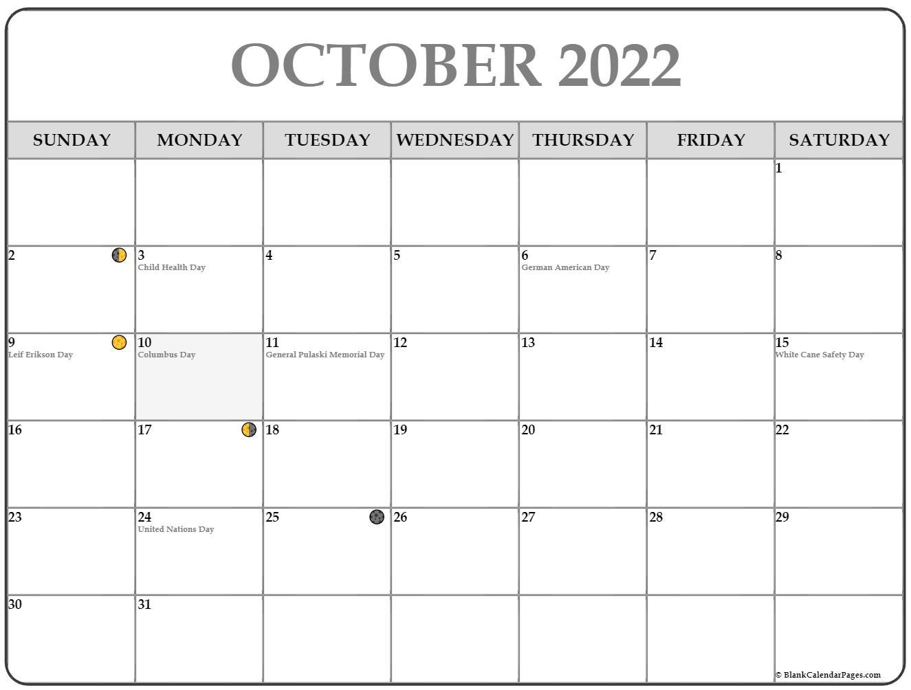 Moon Calendar October 2022.October 2022 Lunar Calendar Moon Phase Calendar