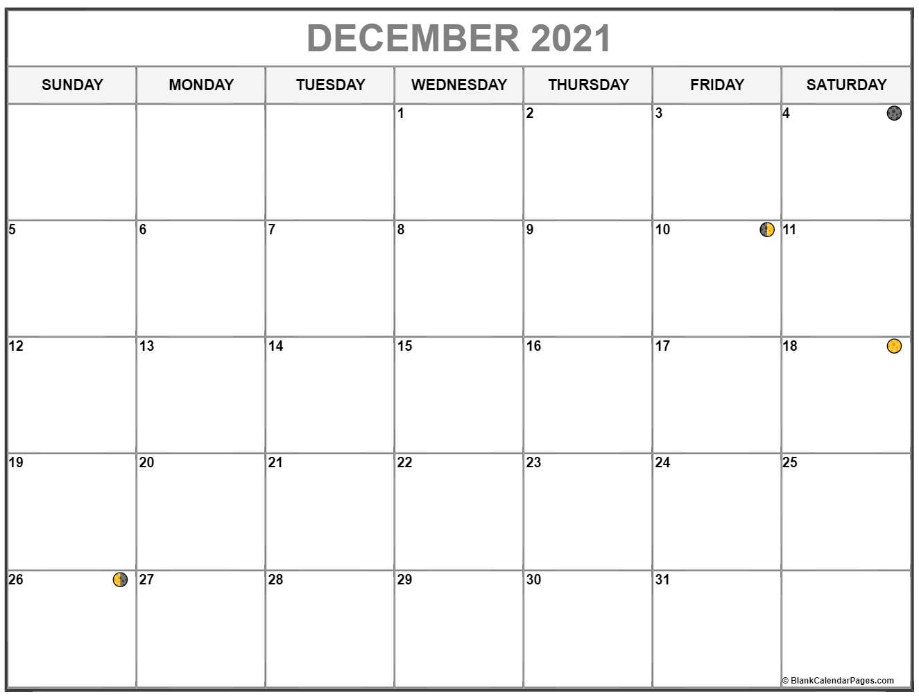 December 2021 lunar calendar. Moon phases with USA holidays