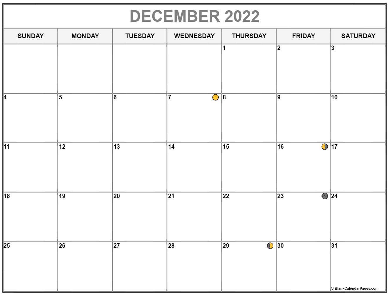December 2022 lunar calendar. Moon phases with USA holidays