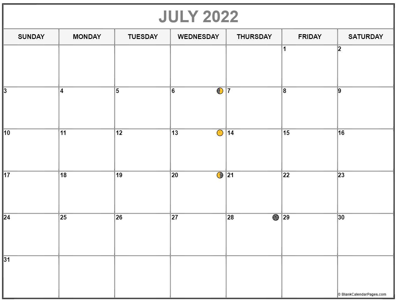 July 2022 lunar calendar. Moon phases with USA holidays