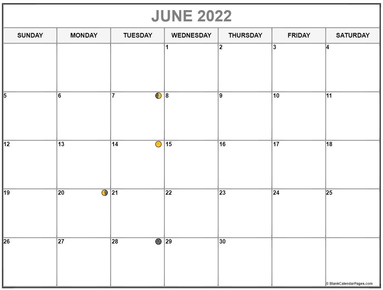 June 2022 lunar calendar. Moon phases with USA holidays