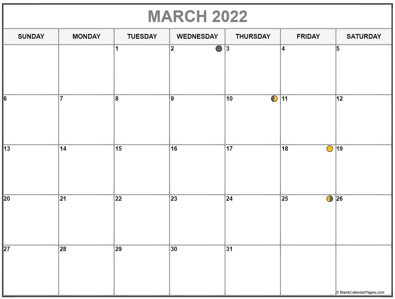 March 2022 lunar calendar. Moon phases with USA holidays
