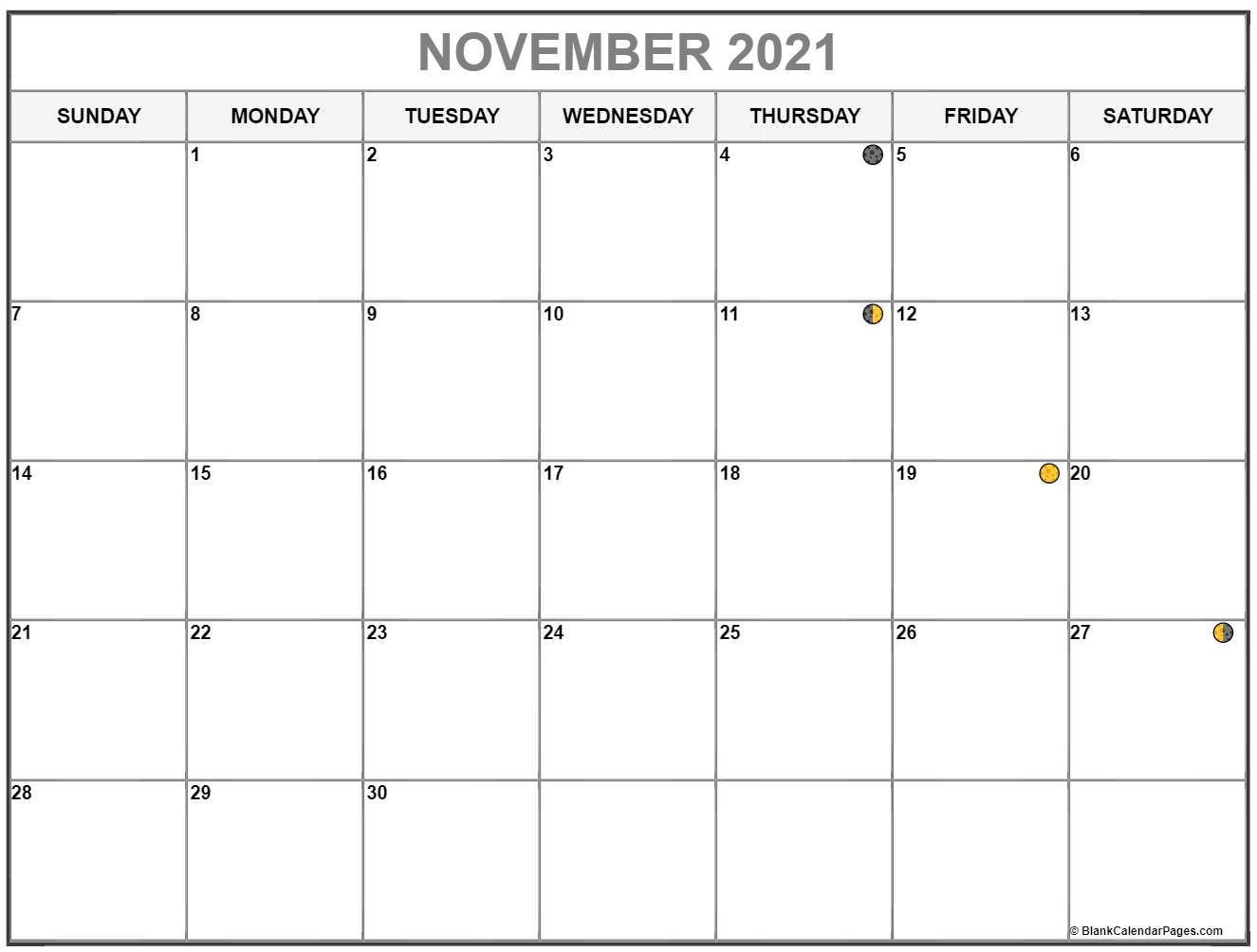 November 2021 lunar calendar. Moon phases with USA holidays