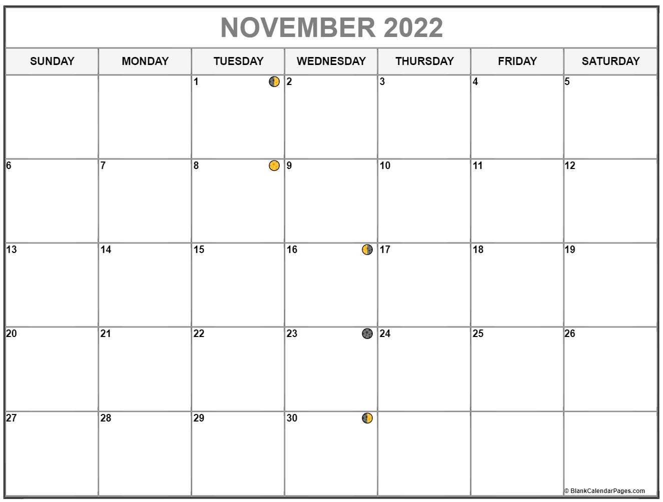 November 2022 lunar calendar. Moon phases with USA holidays