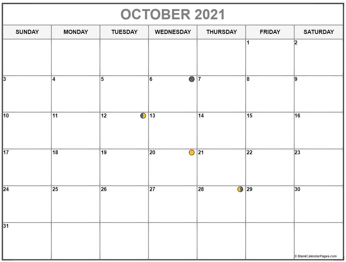 October 2021 Lunar calendar. moon phase calendar with USA holidays