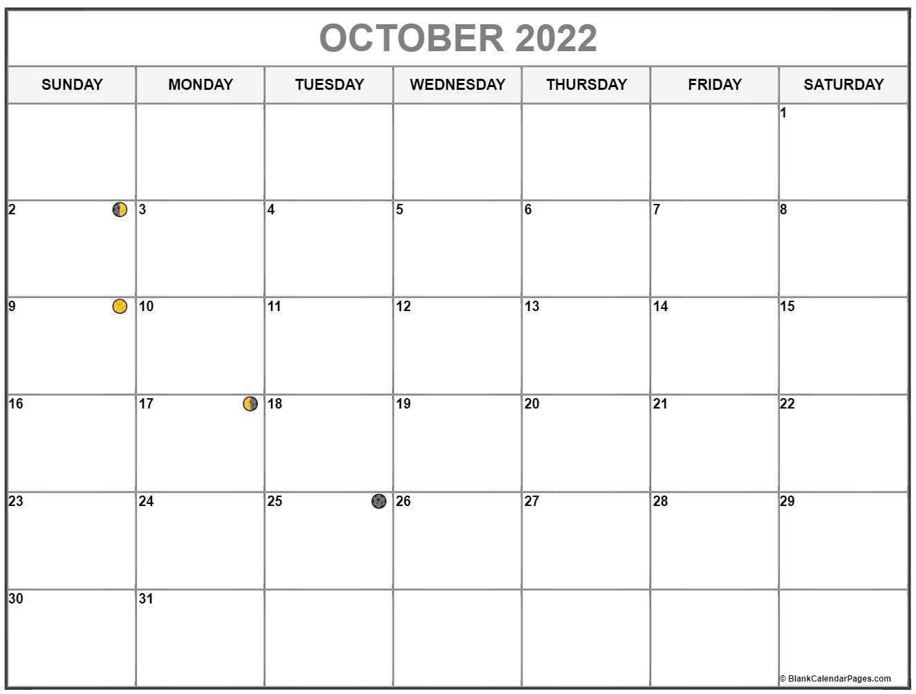October 2022 lunar calendar. Moon phases with USA holidays