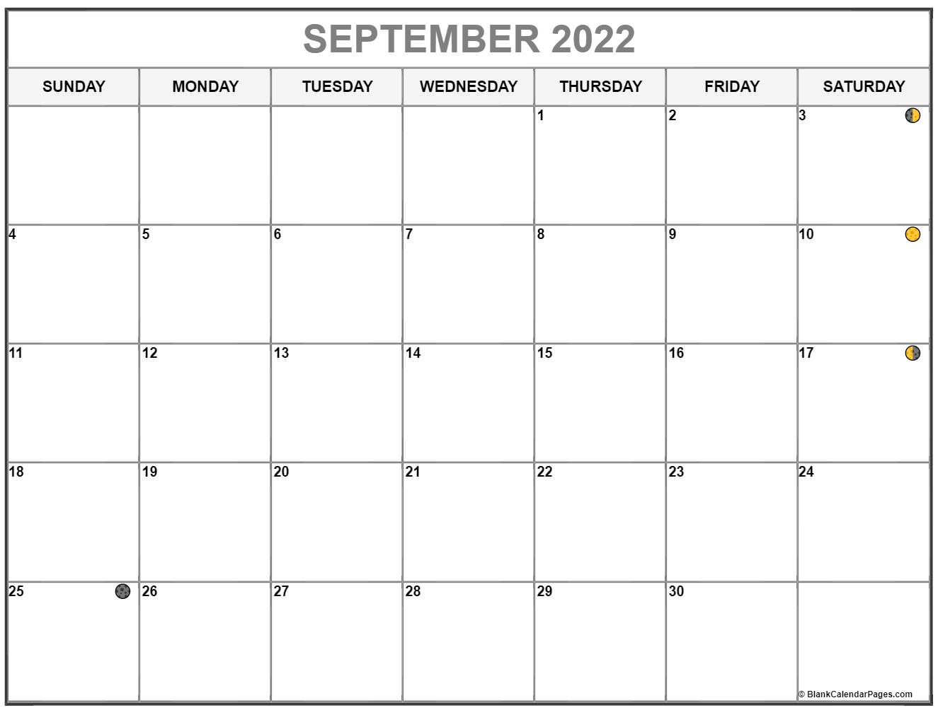 September 2022 lunar calendar. Moon phases with USA holidays