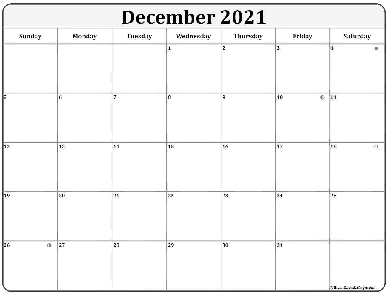 December 2021 moon phase calendar. lunar calendar