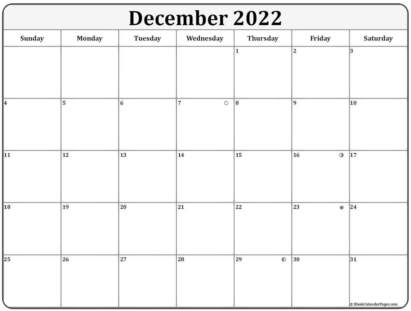 December 2019 moon phase calendar. lunar calendar