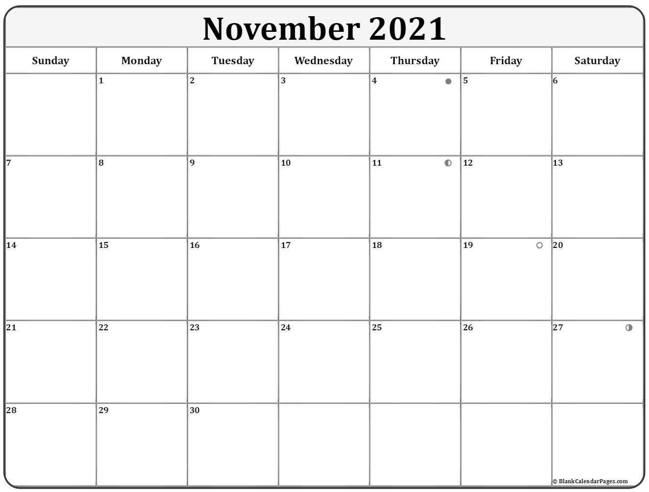November 2021 moon phase calendar. lunar calendar