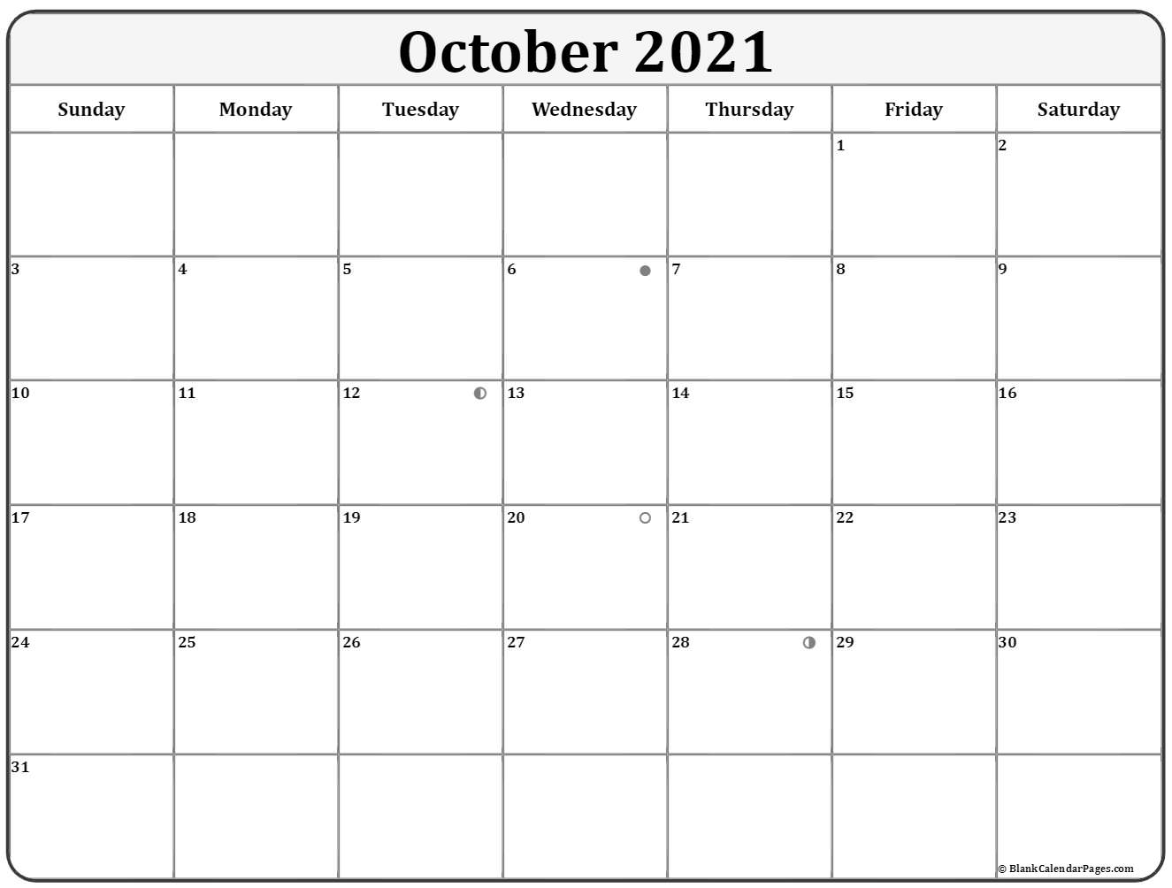 October 2021 moon phase calendar. lunar calendar