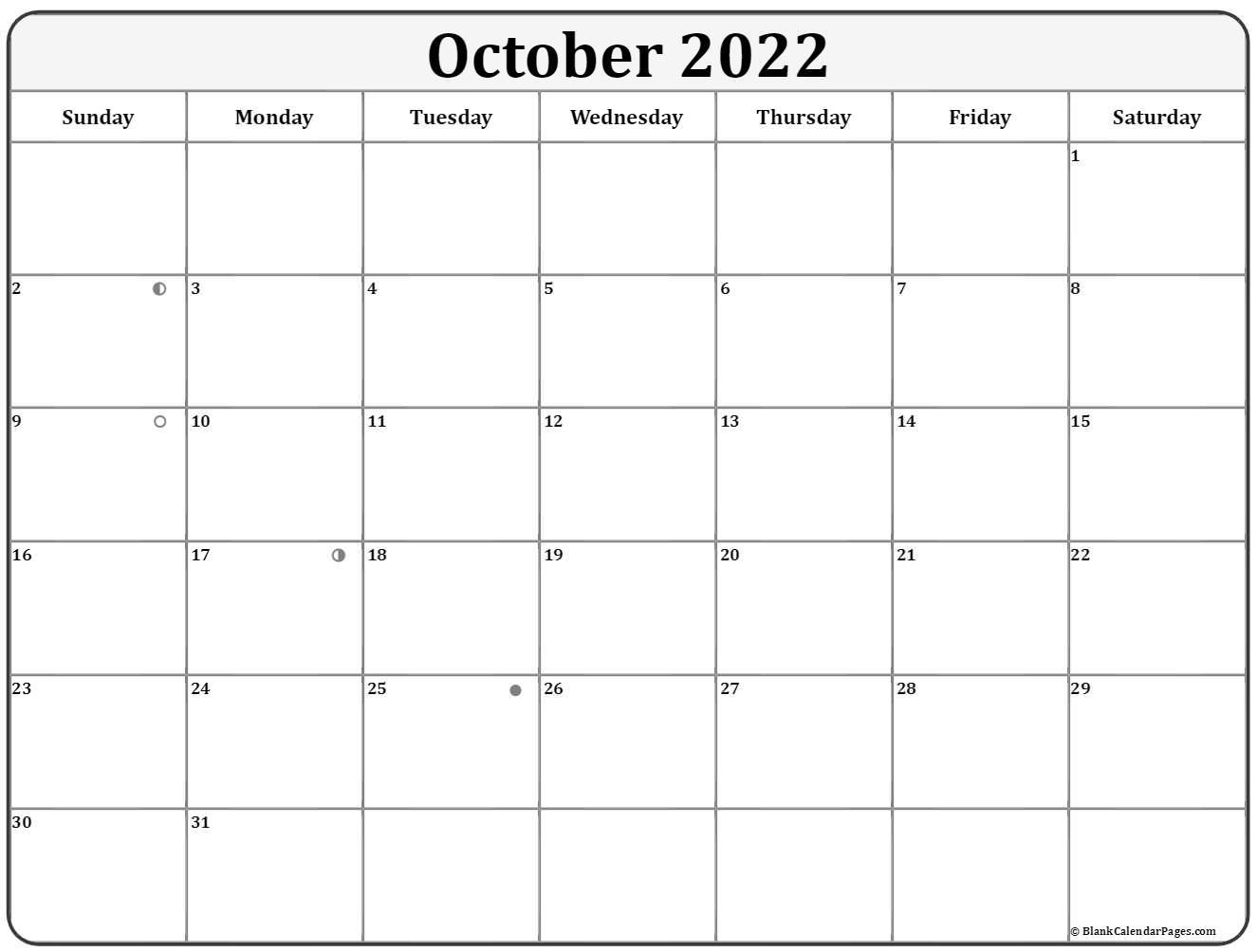 october 2018 moon phase calendar