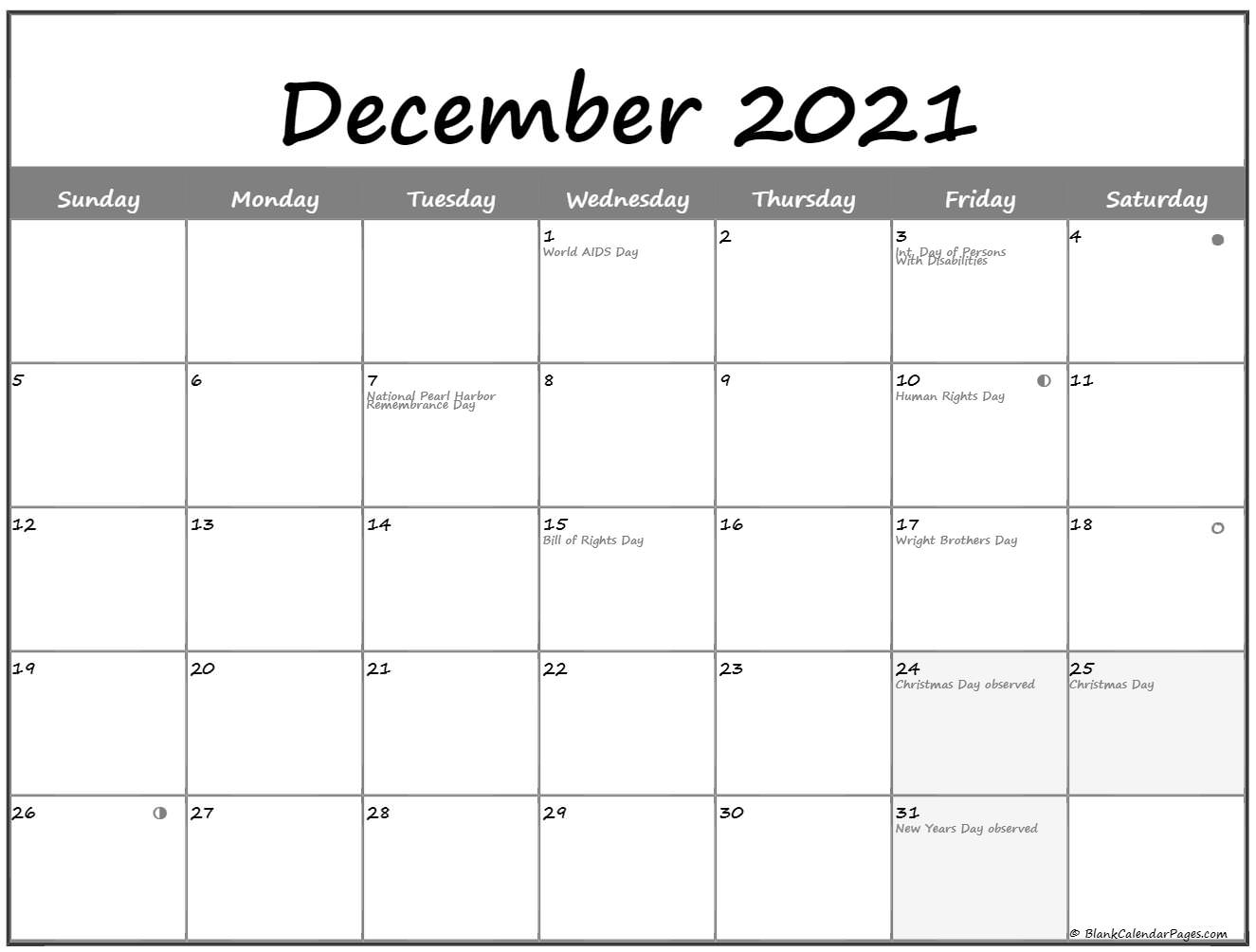 December 2021 Lunar calendar. moon phase calendar with USA holidays