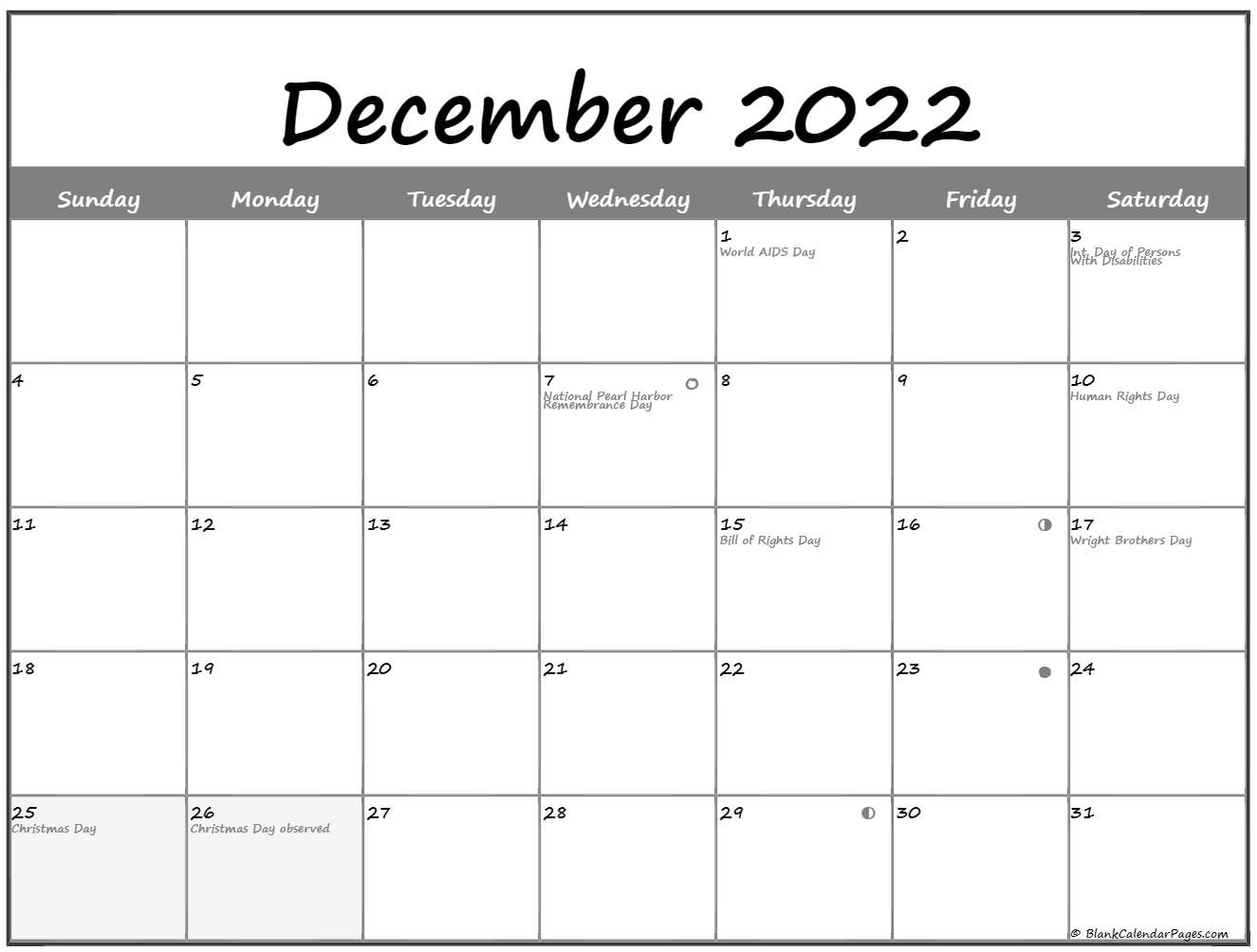 December 2019 Lunar calendar. moon phase calendar with USA holidays