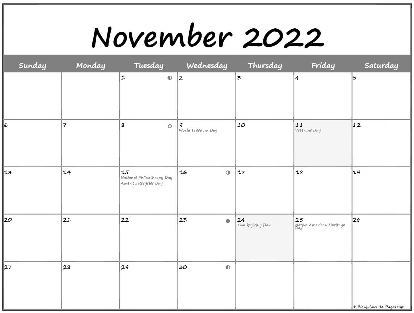 November 2019 Lunar calendar. moon phase calendar with USA holidays