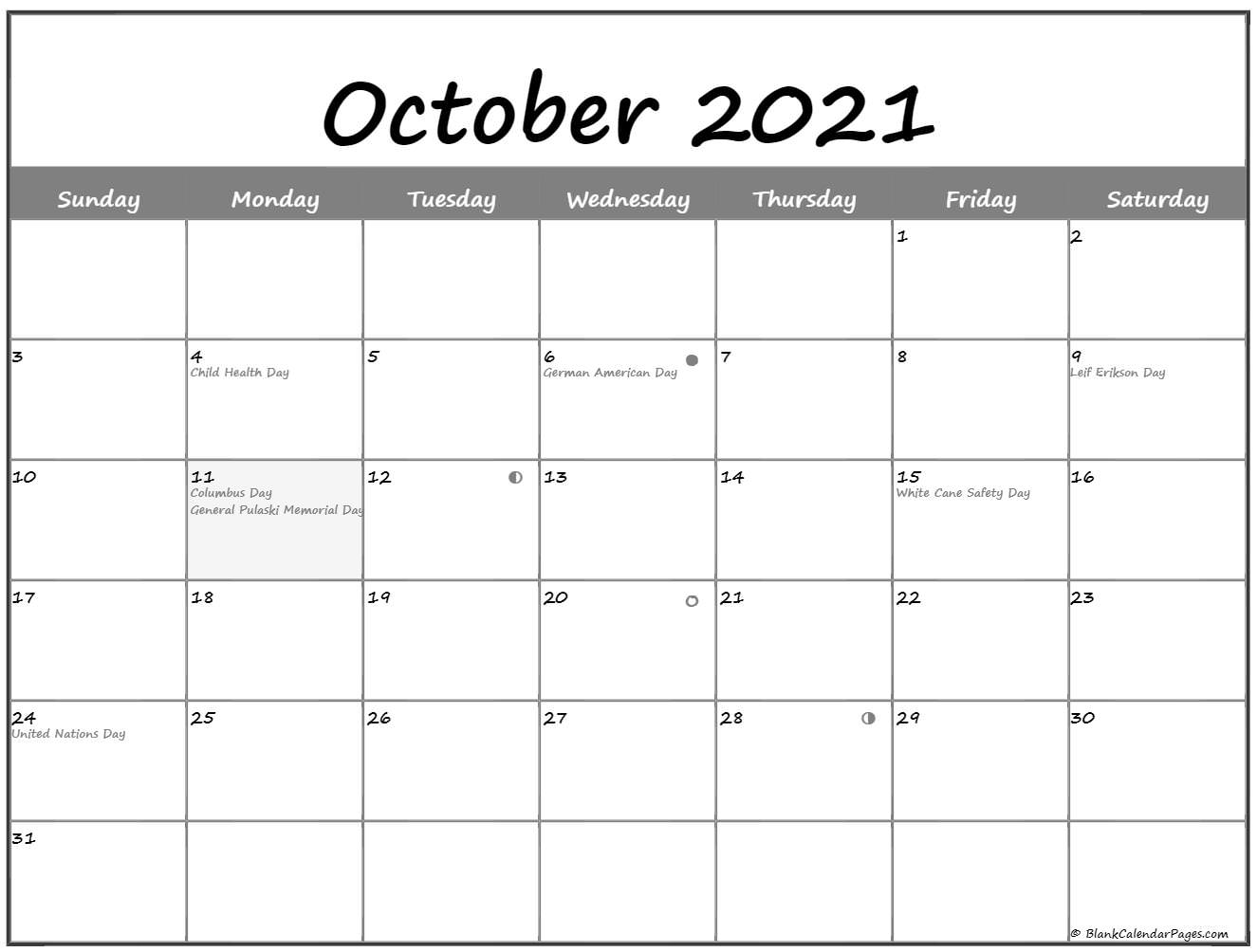 October 2020 Lunar calendar. moon phase calendar with USA holidays