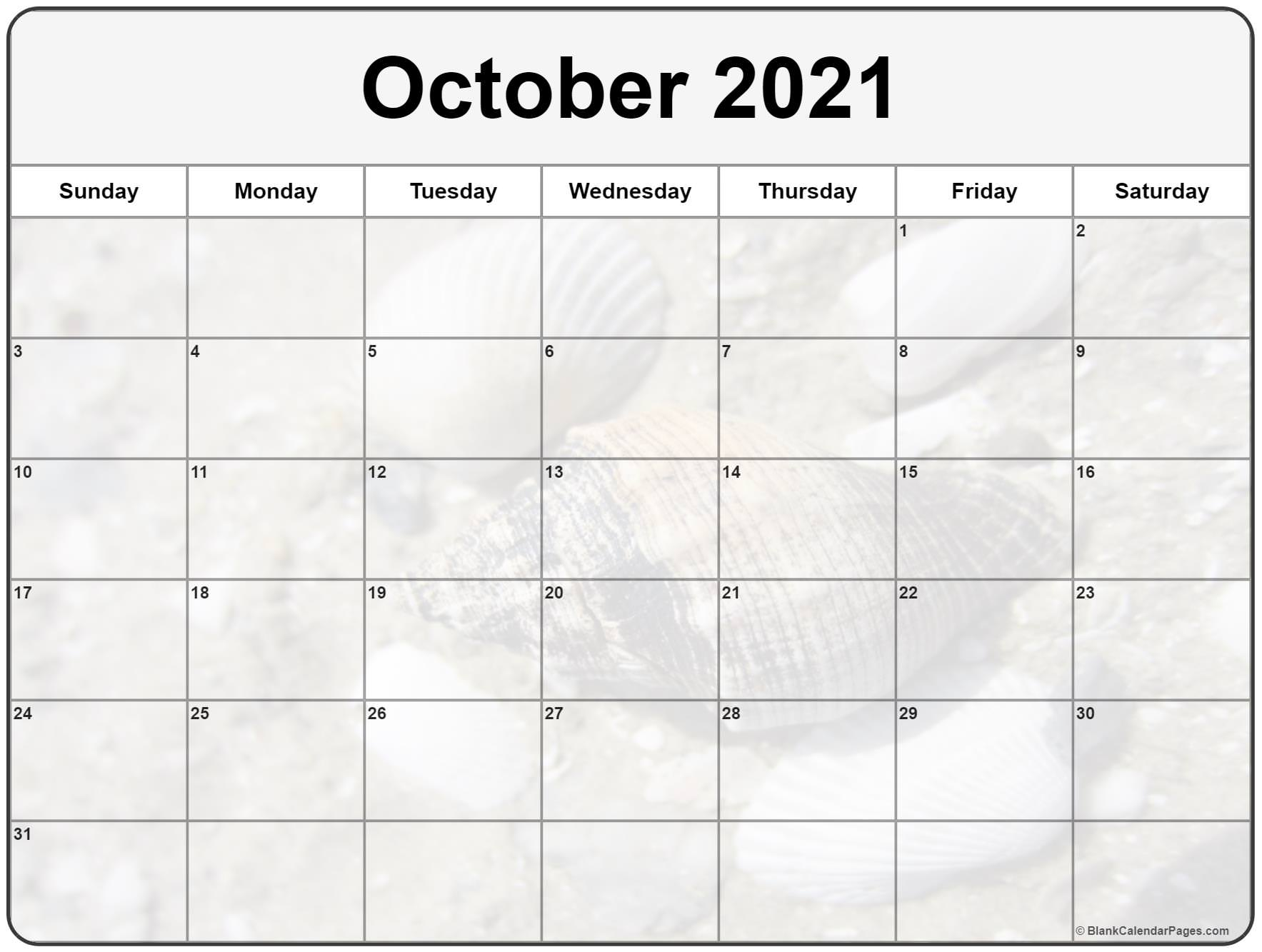 October 2021 printable calendar  with cute seashells filters