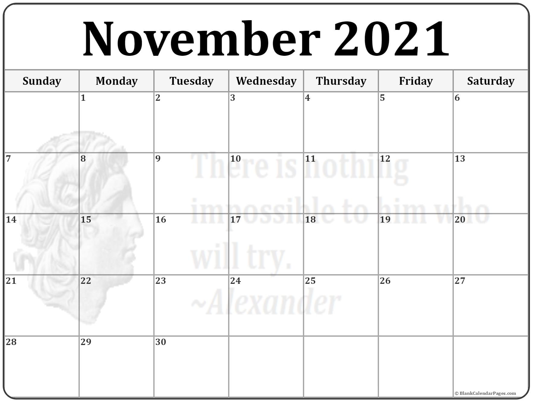 November 2021 Alexander the Great quote calendar
