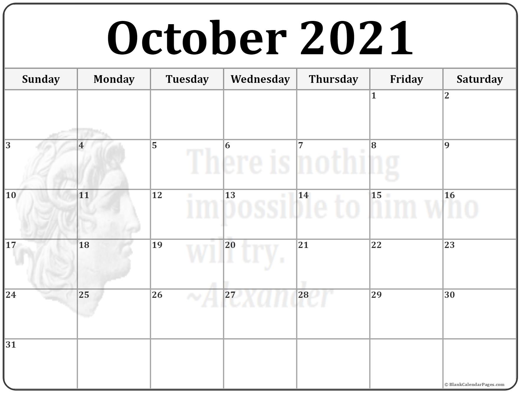 Calendar Printables Blank : October calendar templates of printable